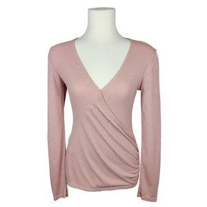 Silence + Noise Blush Ribbed V-Neck Wrap Top XS